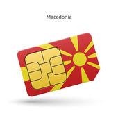Macedonia mobile phone sim card with flag. — Stock Vector