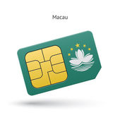 Macau mobile phone sim card with flag. — Stock Vector
