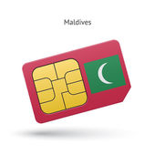 Maldives mobile phone sim card with flag. — Stock Vector