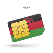 Malawi mobile phone sim card with flag. — Stock Vector