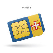 Madeira mobile phone sim card with flag. — Stock Vector