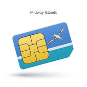 Midway Islands mobile phone sim card with flag. — Stock Vector
