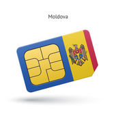 Moldova mobile phone sim card with flag. — Stock Vector