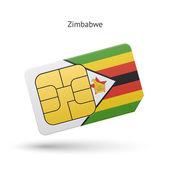 Zimbabwe mobile phone sim card with flag. — Stock Vector