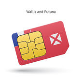 Wallis and Futuna mobile phone sim card with flag. — Stock Vector