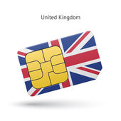 United Kingdom mobile phone sim card with flag. — Stock Vector