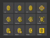 Fingerprint and thumbprint icons. — Stock Vector