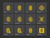 Fingerprint and thumbprint icons. — Stock Vector