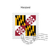 State of Maryland flag postage stamp. — Stock Vector