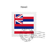 State of Hawaii flag postage stamp. — Stockvektor