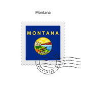 State of Montana flag postage stamp. — Cтоковый вектор