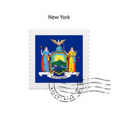 State of New York flag postage stamp. — 图库矢量图片