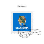 State of Oklahoma flag postage stamp. — Stock Vector