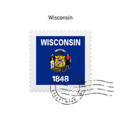 State of Wisconsin flag postage stamp. — Cтоковый вектор