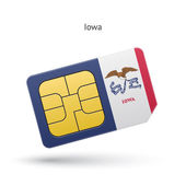 State of Iowa phone sim card with flag. — Stock Vector