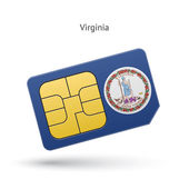 State of Virginia phone sim card with flag. — Vettoriale Stock