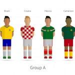 Football teams. Group A - Brazil, Croatia, Mexico, Cameroon — Stock Vector #43781627