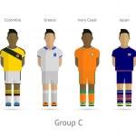 Football teams. Group C - Colombia, Greece, Ivory Coast, Japan — Stock Vector #43782069