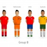 Football teams. Group B - Spain, Netherlands, Chile, Australia — Stock Vector #43782077