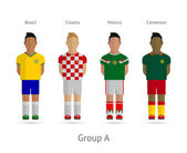 Football teams. Group A - Brazil, Croatia, Mexico, Cameroon — Vettoriale Stock