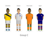 Football teams. Group C - Colombia, Greece, Ivory Coast, Japan — Vettoriale Stock