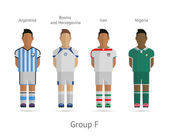 Football teams. Group F - Argentina, Bosnia and Herzegovina, Iran, Nigeria — Vettoriale Stock