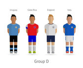 Football teams. Group D - Uruguay, Costa Rica, England, Italy — Vettoriale Stock