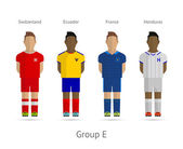 Football teams. Group E - Switzerland, Ecuador, France, Honduras — Vettoriale Stock