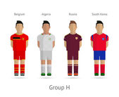 Football teams. Group H - Belgium, Algeria, Russia, South Korea — Vettoriale Stock