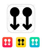 Two Finger drag down gesture abstract icon. — Vecteur