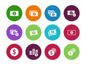 Dollar Banknote circle icons on white background. — Stock Vector