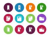 Bookmark, tag, circle icons on white background. — 图库矢量图片