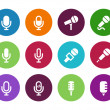 Microphone circle icons on white background. — Stock Vector #45928169