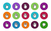 Pixel cursors circle icons: mouse hands. — Stock vektor