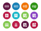 Password circle icons on white background. — Stock Vector