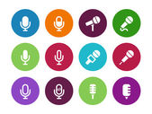 Microphone circle icons on white background. — Stock Vector