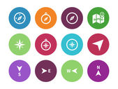 Compass circle icons on white background. — Stock Vector