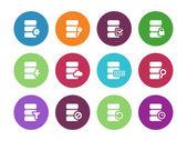 Database circle icons on white background. — Stock Vector