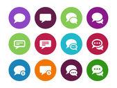 Message bulle cercle icônes sur fond blanc. — Vecteur