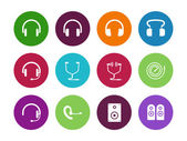 Headphones circle icons on white background. — Stock Vector