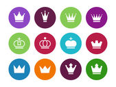 Crown circle icons on white background. — Stock Vector