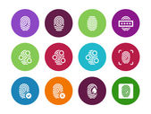 Fingerprint circle icons on white background. — Stock Vector