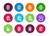 Fingerprint circle icons on white background. — Vettoriale Stock