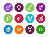 Gender identities circle icons on white background. — Vettoriale Stock