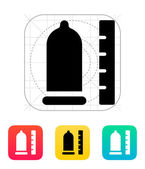 Condom with ruler icon. — Wektor stockowy