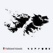 High detailed vector map of Falkland Islands with pins. — Stock Vector