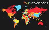 Mapa do mundo em quatro cores — Vetorial Stock