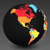 具有阴影和国家边界的 3d 世界地图符号 — 图库矢量图片