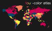 Carte du monde quatre couleurs — Vecteur