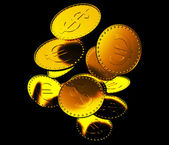 Falling dollars and euro Coins — Stock Photo